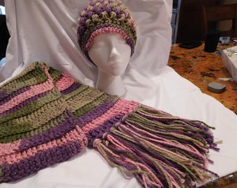 Multicolored handmade women's crocheted hat and scarf