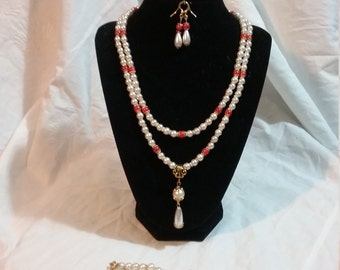 Coral and Pearl Look Medieval Renaissance style Jewelry Set