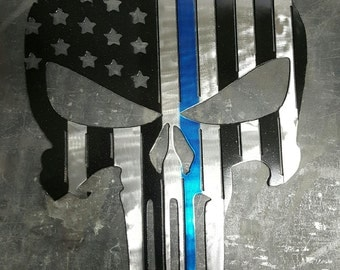 Metal Punisher Skull - American Thin Blue Line, red line