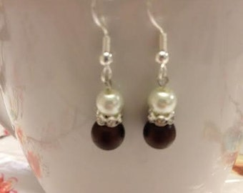 Godiva, Brown and White Pearl Earrings with Rhinestone Accent