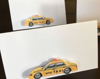 New York City favor tags, taxi cab gift tags, New York party theme, NYC food labels, placecards place cards, name cards -12/order