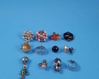Vintage clip- on Earrings...12 individual earrings...great for crafting, jewelry making