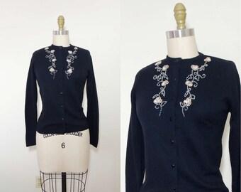 Vintage 1950s black embroidered cardigan | 50s black beaded sweater | knit Orlon long sleeve | vintage sweater | vintage cardigan | S