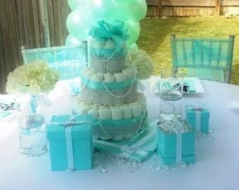 Tiffany Themed Diaper Cake