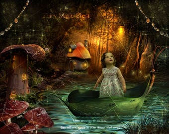 Digital background fairy town, fairies digital backdrop prop for composite photography. Enchanted village in forest, lake . Instant download