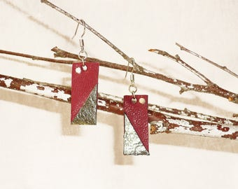 Earrings leather / single model / unique jewelry / hand made jewelry / original loops / handmade /.