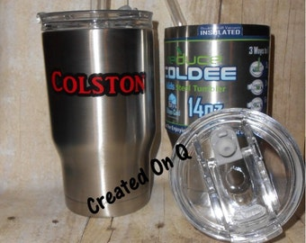 Personalized 14 oz Stainless Steel Kids Tumbler with close-able lid and straw - Coldee - kids cup