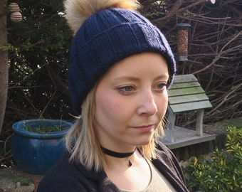 Navy Ribbed Hat Handknitted in Extra Fine Merino Yarn with Pompom