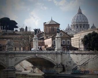 "Art print ""corners of Rome"" Fine Art-Ponte Sant'Angelo in Rome-domestic furniture"