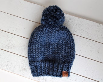 Knit Pom Toque, Navy Blue,  Ready to Ship Size 3-6M