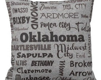Oklahoma cities pillow - OK typography throw pillow - red or gray decorative pillow - Okla. cushion - gift