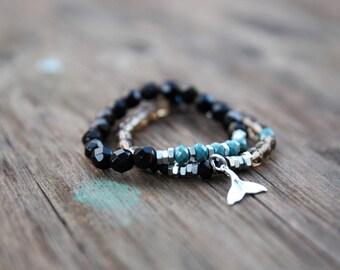 mans Bracelets Set,Beaded bracelets Men jewellery , Black bracelets, Beaded Bracelet, Mens Bracelet,  black bracelet gemstone, gift for mens