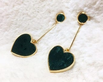 DeepGreen Heart shape Earrings