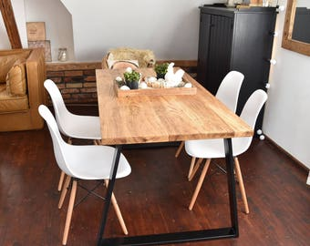 Hand Crafted 6 seater farmhouse style Modern oak Wood & black Steel Dining Table Handmade Industrial Kitchen Table solid wood
