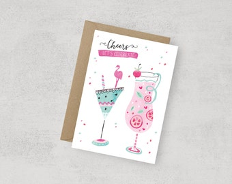 Downloadable Bachelorette Party design card, cocktails, party, digital, instant download, Flamingo