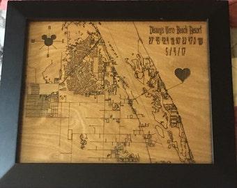 Keepsake Map - Choose the Location / Coordinates. Wedding / New Baby Gift
