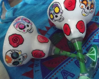 Hand Painted Margarita Glass set ~ Candy Skull ~ Cozumel ~ Mexico ~ 6 oz ~ 177 ML ~ Customization Available