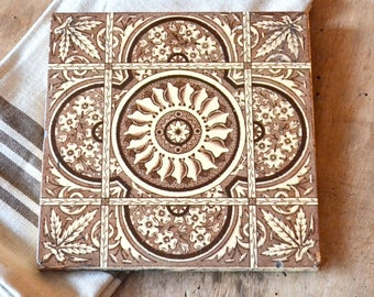 Antique Brown Transferware Square Tile. Aesthetic Design Pattern. Ceramic. Antique Collectible.