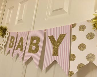 Glitter Baby Shower Banner | Baby Girl | It's a Girl | Baby Shower Decoration | Instant Download Banner
