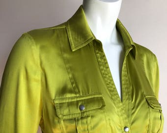 Cache Large L Apple Neon Green Pure Silk Satin Shirt Safari Blouse