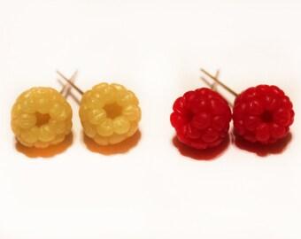 Raspberry stud earrings, red and yellow raspberry earrings, botanical jewelry, berries jewelry, food jewelry, handmade raspberries
