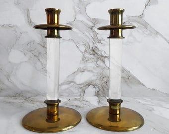 Brass & Lucite Candlesticks