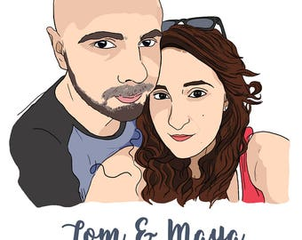 Personalised Family Portrait, Custom Portrait, Personalised Gift, Custom Portrait Illustration, Gift for Her, Gift for Him, Digital File