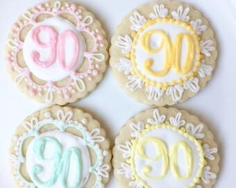 Birthday Cookies, Personalized Birthday Cookies, Pastel Cookies, Set of Six, Pastel Cookies
