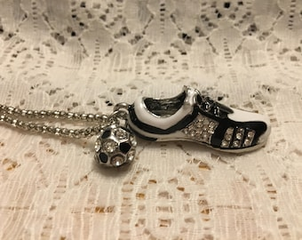 Crystal Soccer Cleat and Soccer Ball Pendant Necklace/Soccer Ball Necklace/Soccer Cleat Necklace/Soccer Jewelry/Soccer Necklace