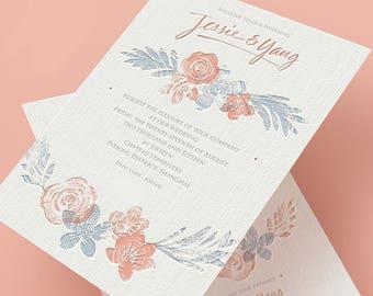 Letterpress Wedding Invitation, Wedding Invites