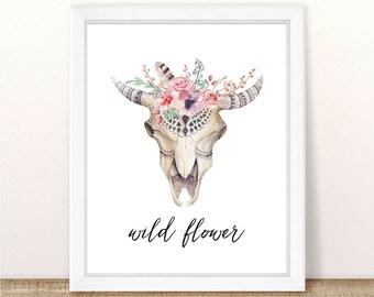 PRINTABLE, Wild Flower, INSTANT DOWNLOAD, Watercolor Boho Tribal Skull, Nursery Wall Decor, Girl Nursery Decor, Boho Nursery, Tribal Nursery