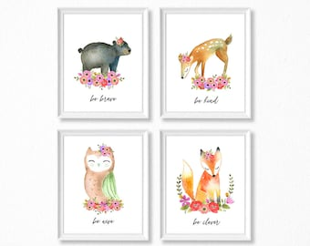 PRINTABLE Woodland Girl Nursery Art, Floral Woodland Animals Nursery Prints, Deer Bear Fox Owl Watercolor Woodland Set, Be Kind Brave Wise