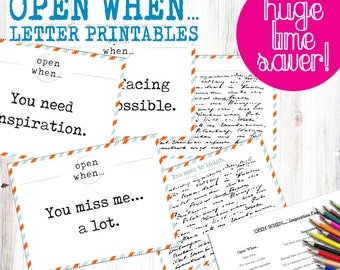 30 OPEN WHEN LETTER Pre-Made Printables... Print instantly to save time! Envelope Covers, Blank Cards, Inspiration Page, Envelope Template