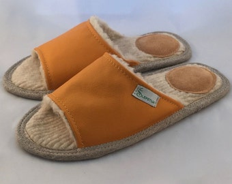Women slippers, yellow slippers, leather slippers, wool slippers, orange slippers, open toe slippers, female slippers, women house shoes