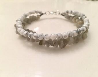Labradorite + White Magnesite Double Stranded Bracelet