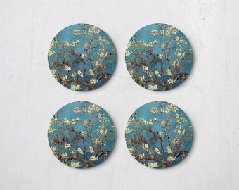 Vincent Van Gogh - Blossoming Almond Tree  Coasters Drink Coaster Home Decor Set 4 Sheets CT0017