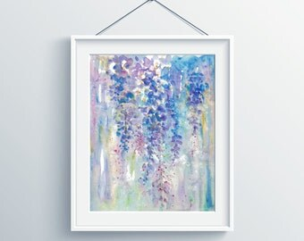 Original watercolor painting, handmade,abstract wisteria flower colorful art, house gift