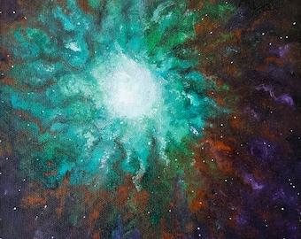 small oil painting, original artwork, galaxy, cosmos