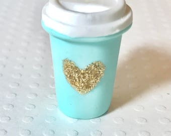 Togo Coffee Cup with Glitter Heart, Polymer Clay Charm