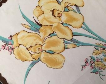 Vintage Handkerchief  / Yellow Irises