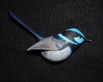 Superb Fairy-wren wooden bird magnet