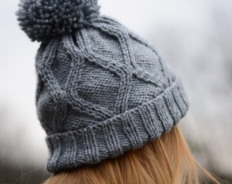 Geometric Knit Hat with Pompom, Ready to ship Gift for her Women fashion Warm Accessories
