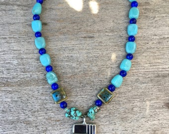 Turquoise, Blue and Green glass pendant