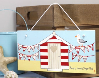 Personalised Beach Hut Sign Plaque, Seaside Decor Family Name Sign, Seagull Art, Beach Huts Gift Idea Hand Painted by Liza J design