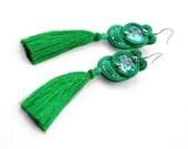 Green tassel earrings, emerald tassel earrings, long tassel earrings, embroidered dangle earrings, long soutache earrings, earrings fringes