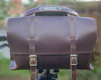 Large Genuine Leather Bicycle Bag Saddle Handlebar OLD FASHIONED in Chocolate BROWN