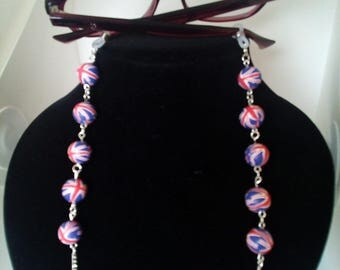 Gift Set union jack  glasses , spectacles chain / strap with keyring