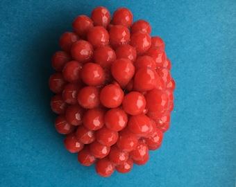 Crimson Beaded Brooch