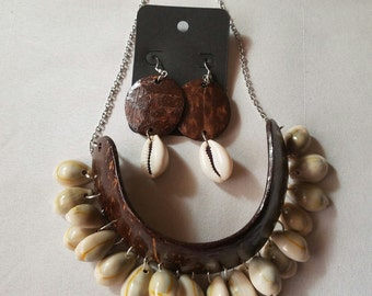 Coconut shell cowrie bead necklace and earring set