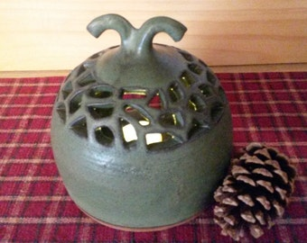 Pottery tealight holder, Slate green tealight holder, Pottery tealight holder, Slate green pottery, pottery candle holder